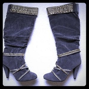 GRAY SUEDE STUDDED KNEE HIGH BOOTS